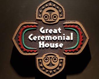 Disney polynesian resort Great Ceremonial House Tiki replica sign