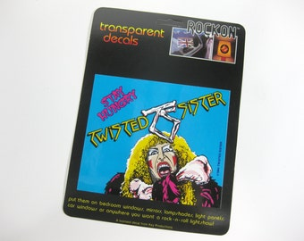 """Vintage TWISTED SISTER """"Stay Hungry"""" Rockon Transparent Decal by Key Productions ~ 1984 ~ New ~ Unused ~ Hair Band ~ Glam Band ~ Dee Snider"""