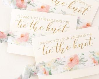 Peach Floral Bridal Shower Hair Tie Favors | Bridesmaid Gift Hair Ties, Peach + Mint Floral Hair Tie Favors, Bridesmaid + Wedding Party Gift