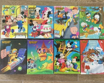 Vintage Jigsaw Puzzles, All pieces for 8 Children's Puzzles, Intact boxes, 100 piece Puzzles Walt Disney and More, Ages 5-10