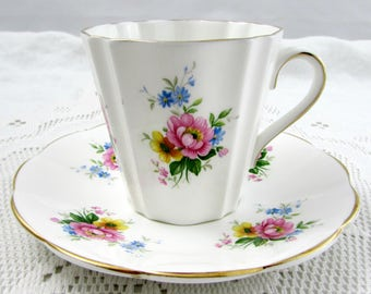 Elizabethan Tea Cup and Saucer with Flowers, Vintage Teacup and Saucer, English Bone China