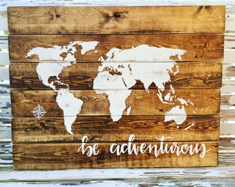 World Map Wood Wall Art antique world map on reclaimed wood