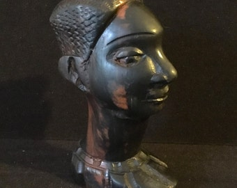 Vintage Hand Carved African Male Bust Heavy Hard Wood