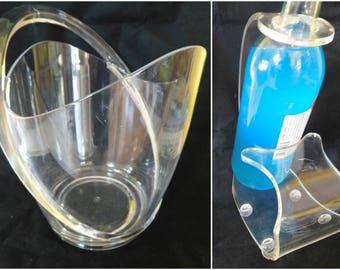 Vintage Hollywood Regency Lucite Ice Bucket Wine Bottle Holder 60s Lucite Mod Bar Set  Ice Bucket