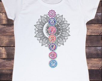 Women's White T-Shirt Buddha Coloured Chakra Symbols Colourful Glow symbols Design TS767