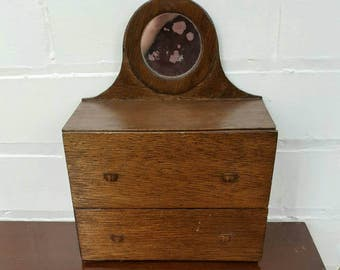 Handmade dressing table dolls house furniture / apprentice piece with circular mirror vintage 2 drawer wooden dresser tallboy
