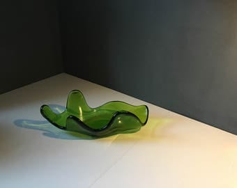 Vintage Blenko Glass Dish- Green