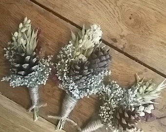 Beautiful Pine Cone Buttonholes. Made from dried flowers and grasses for a rustic, vintage or country feel. Christmas Red Blue White