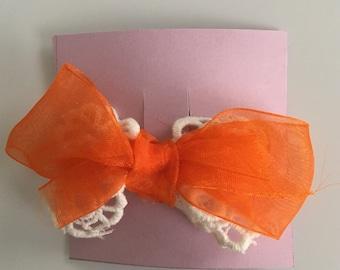 Orange Lace Hair Bow