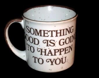 Vintage Stoneware, Flower and Saying Mug, Japan,  Stoneware Mug, Brown Mug, Stoneware Cup, Brown Cup, Floral Cup, Saying Mug, Saying Cup