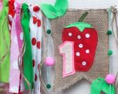 Strawberry Birthday Banner, Strawberry Birthday, Picnic Banner, Strawberry High Chair, Strawberry Party, One Birthday Strawberry