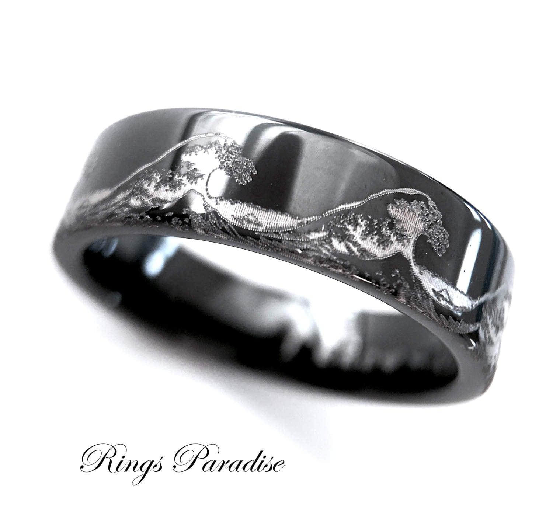 Mens Wedding Bands Ocean Ring Wave Ring Mens Black Tungsten