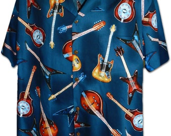 Rock Out Guitars Navy Pacific Legend Hawaiian Aloha Shirt 410-3900