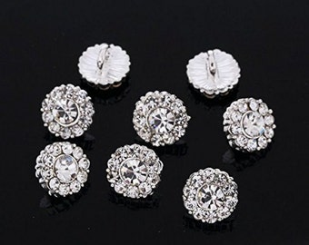 DB6 ROUND Diamante Faceted Crystal Silver BUTTONS - 10pcs x 10mm