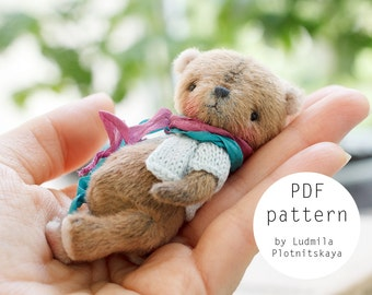 OOAK Artists Teddy Bear pattern, teddy pattern, teddy bear, soft toy pattern, miniature bear, 3.15 inches