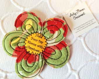 Flower ornament gift, quilted flower, fabric quilted art ornament, Fabric flower, Fabric ornament, Gift Card, Card insert, Arty flower #2