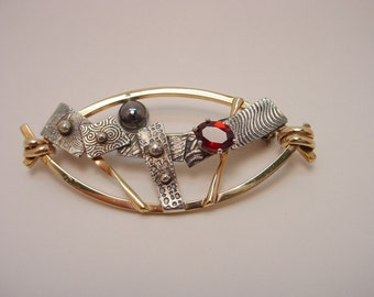 Pin Gold Filed Wire and Textured Sterling with Garnet and Hemetite Ball Marquise Shaped Pin