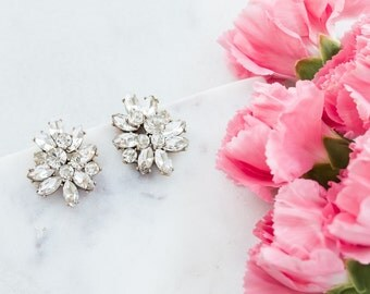 Wedding Earrings, Bridesmaid Earrings, Bridal Crystal Luxe Cluster Stud Earrings, Statement Earrings, Bridesmaid Gift, Bridal Jewelry