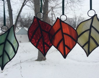 Thanksgiving Stained glass Autumn Leaves Suncatcher Ornaments.