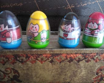 1970s Weeble Wobble Family