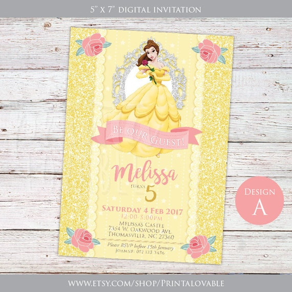 Princess Belle Birthday Party Printable Invitations Birthday Wikii