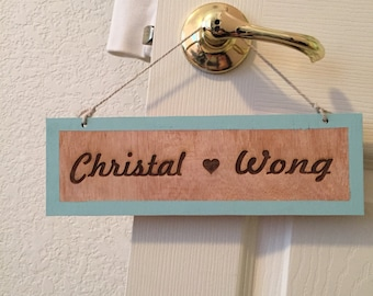 Customized wood name sign