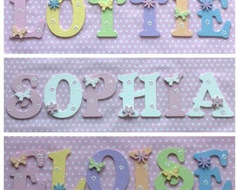 Wooden Alphabet Name Plaque 9cm Letter Children Kids Boys Girls Baby Bedroom Nursery Wall Door ANY COLOUR/NAME Pink White Blue Purple Red...