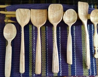 Spalted Yellow Birch serving spoons/spatulas (please specify 1-7 l to r)