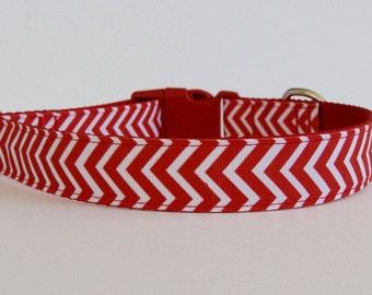 Red Chevron Dog Collar- READY TO SHIP!