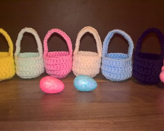 crochet baskets, set of 6, ready to post, easter basket