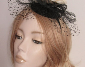 IVORY and BLACK FASCINATOR, Ivory/cream flower, feathers and widow net, on a base, and headband