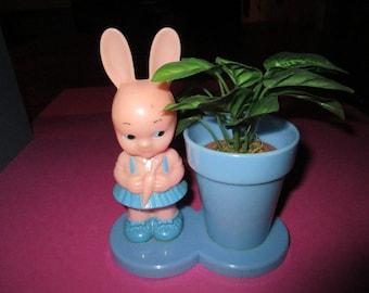 Vintage Knickerbocker Girl Easter Bunny, Plastic, Rattle, with Flower pot, pink, blue, 1960's, marked