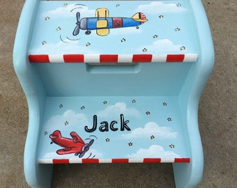 bi-plane step stool, hand painted kids step stools, personalized step stools