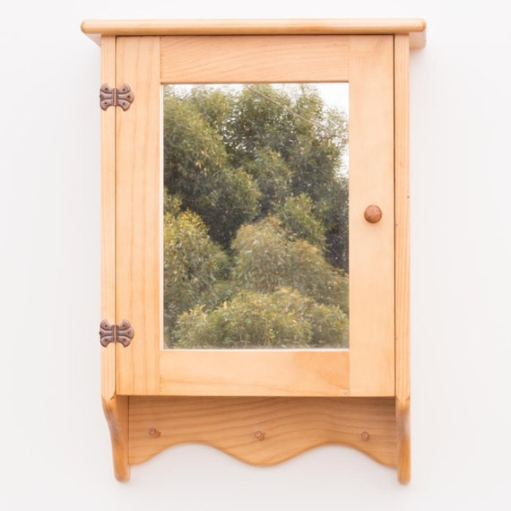 wooden bathroom cabinet 3 shelves mirror front