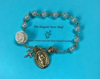 Beautiful Rosary Bracelet with gold hardware