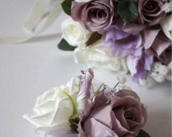 Silk Bridal wedding wrist corsages. Roses, Peonies. Bridesmaid.