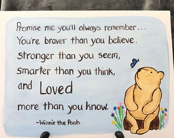 classic winnie the pooh painting graduation goodbye encouragement moving going away cancer pooh nursery art love you 9x12 flat canvas