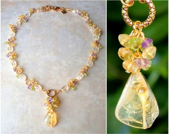 Citrine Cluster Necklace.Multi Gemstone.Statement.Bridal.Amethyst.Peridot.Yellow.Mother's.Birthday.Pastel.Beaded.Pendant.Gift.Handmade.