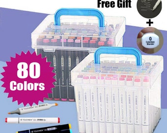 FREE SHIPPING!!TOUCHNEW Twin Tip Marker Pens 80 Colors Art Mark Pen Alcohol Marker Pen