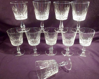 Set of Ten Hand-Made German Cut Crystal White Wine Goblets