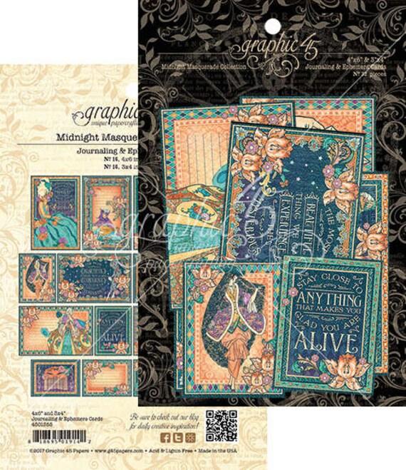 NEW! Graphic 45 Midnight Masquerade Ephemera Cards, SC007719