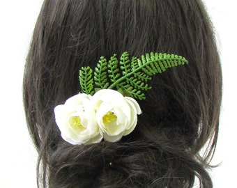 Ivory Ranunculus Green Fern Rose Flower Hair Comb Bridal Bridesmaid Clip Vtg 937