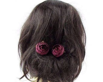 2 x Plum Grape Purple Rose Bud Flower Hair Pins Vintage Bridesmaid 1950s 2902