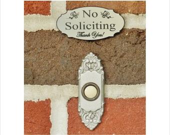 No Soliciting Doorbell Sign - Elegant design doorbell sign - FREE SHIPPING