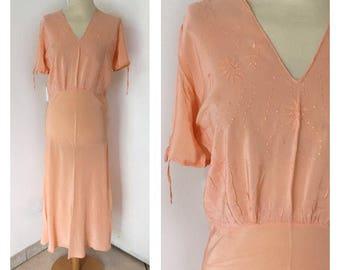 30/40s Silk Nightdress - Vintage Midi Petticoat - Size S/M