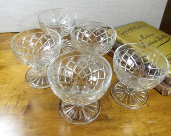 Set of Five (5) Glass Pedestaled Custard Dishes