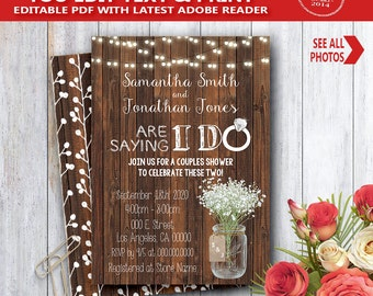 I do shower Invitation wood rustic are saying I do couples shower engagement rehearsal dinner YOU EDIT text and print yourself invite 14073