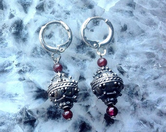 Bali Silver and Garnet Earrings