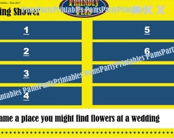Wedding Shower Friendly Feud GAME ONE- Family Feud - Interactive PowerPoint Game - Bridal Shower Party Game  -  Family Friendly