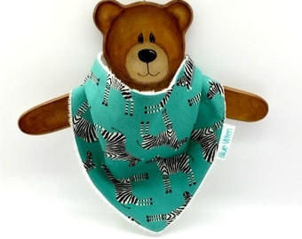 Stylish Bandanna Baby Bib for Dribble, Zebras on Green Cotton Fabric, So Soft Bamboo Toweling, Snap Fastened, and Adjustable.